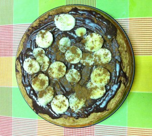 Panqueca com Top chocolate, banana e canela